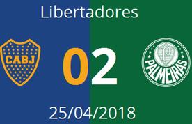 Imagem destacada da publicação Boca Juniors 0 - 2 Palmeiras • 25/04/2018 • Libertadores