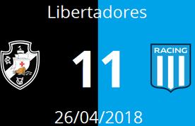 Imagem destacada da publicação Vasco 1 - 1 Racing • 26/04/2018 • Libertadores
